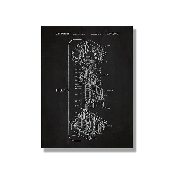 Keyboard keycap patent poster screen print decoration keyboard keycap patent poster screen print decoration technical invention design blueprint schematic retro educational screenprint malvernweather Images