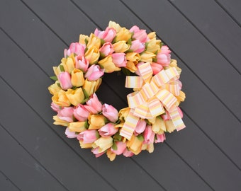 Spring Tulip Wreath, Door Wreaths, Farmhouse Wreath, Spring Wreath, French Country, Front Door Decor, Mother's Day Wreath, Easter Wreath