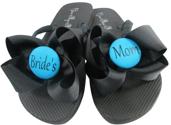 for or of Bow Groom in wedge Thong Sandals Bride's Mother Wedding Mom platforms Turquoise Shoes the Flops or Blue Flats the Flip Ribbon gzU6UqA