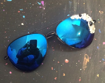 Embellished Aviator Sunglasses with Swarovski Crystals