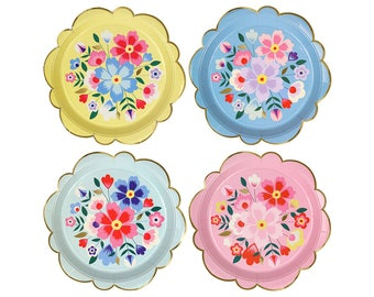 Floral Paper Plates -Small | Bridal Tea Party Plates Garden Party Bridal Shower Bridal Fiesta Birthday Mexican Fiesta Floral Tableware