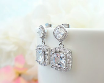 Square Bridal Earrings, Square CZ Earrings, Cubic Zirconia, Square Earrings, CZ Bridal Jewelry, Maid of Honor Gift, Wedding Gift, E2163