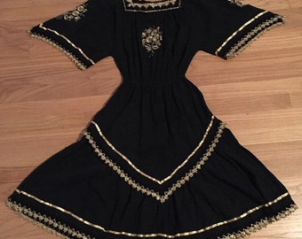 The Vintage Dress Dreams Are Made Of! Black and Gold Vintage  Dress, Fancy Cowgirl Dress