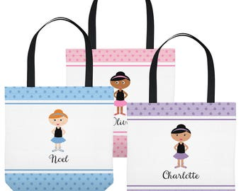 Personalized Dance Bag - Tote Bag with Little Dancer - You choose Dancer's Hair, Skin Color - Pink, Blue, or Purple - Three Sizes