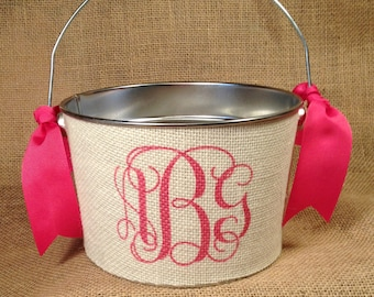 Personalized Easter basket, Easter Pail, Easter bucket, monogram, Custom, burlap bucket, teen decor, birthday, wedding, girl easter, baby