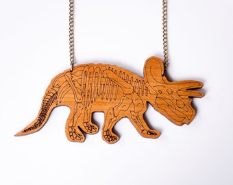 Triceratops Necklace, Skeleton Necklace, Dinosaur Necklace, Dinosaur Jewellery, Statement Necklace, Jurassic Park, Laser Cut Necklace