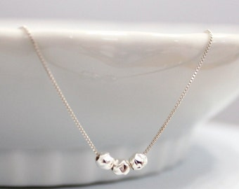 Triple Sterling Silver Hammered Balls Necklace, Layering Necklace, Minimalist Necklace, Gift for Her, Gift for Mom, Gift for Wife, Choker