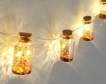 Copper fairy dust LED mini jar lights. String lights. Fairy lights.