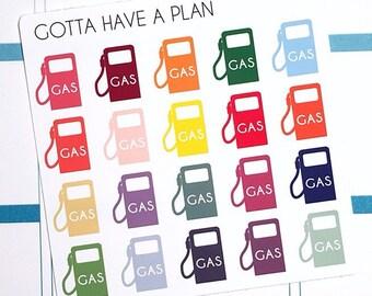 Planner Stickers Gas for Erin Condren, Happy Planner, Filofax, Scrapbooking