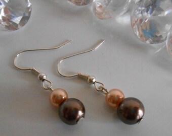 Simple Brown and cream wedding earrings