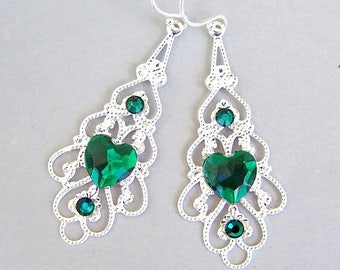 Green heart silver filigree earrings, Christmas gift, emerald hearts, green and silver, Swarovski crystal accents, bridesmaids jewelry