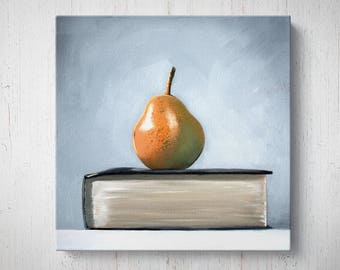 Pear and Book - Fruit Oil Painting Giclee Gallery Mounted Canvas Wall Art Print