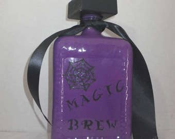 Halloween Bottles ~ Halloween Decor ~ Upcycled Bottles ~ Witch's Brew ~ Magic Potion