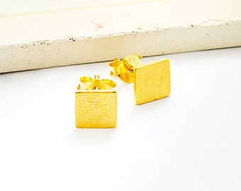 1 Pair of 925 Sterling Silver 24K Gold Vermeil Style Brushed Square Stud  Earrings 6mm. : vm0959