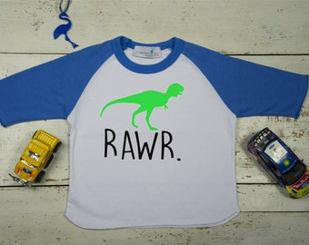 Dinosaur Rawr shirt - Dinosaur raglan tshirt - Dinosaur Birthday Shirt, Personalized T shirt, 18 months - 8 years