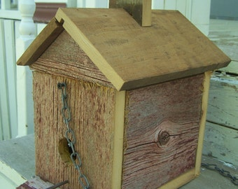 Rustic Barn Board Bird House, Colonial Style, Handmade, Hand Crafted, Upcycled Red Barn Wood