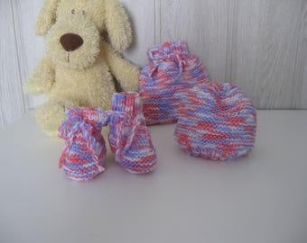 All baby bonnet booties and toy bag