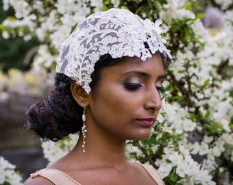 Bridal Lace Cap/Handmade lace Cap/One of a Kind Lace Bridal Cap/Pearl and Lace Cap/Alecon Lace Cap