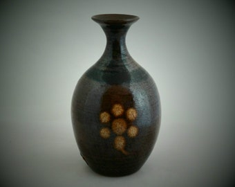 Brown  vase in bottle form  by Welsh Studio potter Dave Wallbridge of Corris Pottery, Machynlleth. 1980s British studio pottery piece