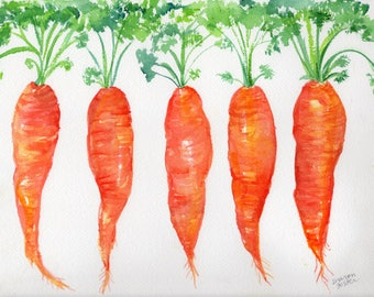 Carrots watercolor painting original vegetables 9 x 12 original watercolor painting bunch  carrots, Farmhouse kitchen decor