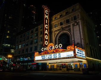 The Chicago Theater at night, in Chicago, Illinois. Photo Print, Metal, Canvas, Framed.