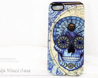 Apple iPhone 5s SE Skull Case - Blue Astrological Sugar Skull iPhone 5s TOUGH Case - Steampunk Sugar Skull Art from Da Vinci Case