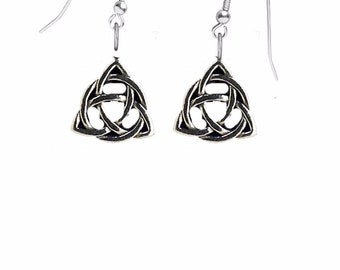 Celtic Triquetra Knot on hook Earrings sterling silver 925 jewellery jewelry CodeCTKPP Celtic Triquetra Knot