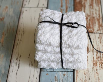 Set of 4 medium, cotton dish cloths/wash cloths***white