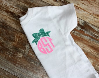 Monogram and Bow Youth Shirt | GLITTER | Pick Your Colors
