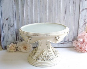 Shabby Chic Cream Cake Stand, Vintage Dessert Stand, Cream and Gold Fall Wedding Dessert Stand with Flowers, Fall Cake Stand, Cake Stand