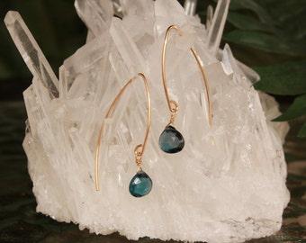 London Blue Topaz Earrings, December Birthstone, Gold Filled, Blue Gemstone, Lightweight, Minimalist, Drop, Dangle, Simple Earrings