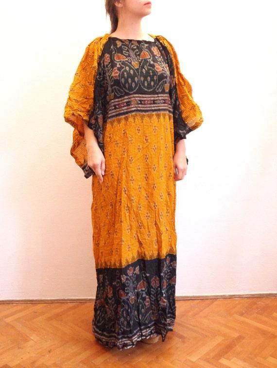 tunic H1 Boho Dress sleeve Hippie Indian Ethnic print dress Kimono Peacocks Ethnic medium 70s Folk Dress Vintage Festival size wItdUUqA