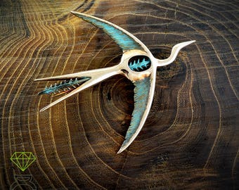 Bird Bronze Brooch, Phoenix bird Silver brooch,  Flying Crane Brooch Artistic Brooch Handcrafted brooch Contemporary Jewelry