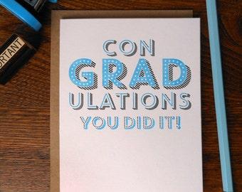 letterpress congradulations you did it greeting card congrats congratulations graduation achievement