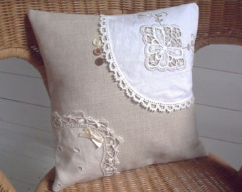 SOLD, but see description. Beautiful Vintage Doilies and Buttons Small Linen Throw Cushion with Envelope Back, One Off