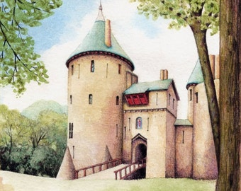 Original painting of Castell Coch | Watercolour of Welsh landscape | Cardiff Red Castle | Fairytale castle Wales | Welsh heritage building