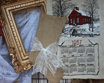 Burlap stockings - rustic Christmas stocking - burlap  stocking with lace ribbon sash - Christmas - holidays - gift - Christmas decor