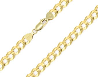 """14K Solid Yellow Gold Cuban Necklace Chain 7.5mm 20-30"""" - Round Curb Link"""