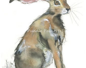 Watercolour Painting - Hare Painting - Rabbit Painting - Watercolour Print - Rabbit Print - Hare Print - Rabbit Nursery Decor - Art Print