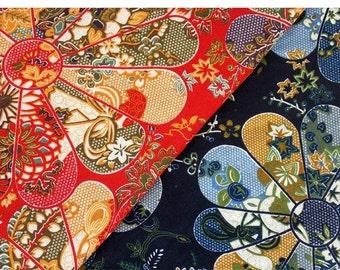 Chinese /Japanese Style Windmill  fabric,cotton linen fabric,  red & blue--1/2 yard