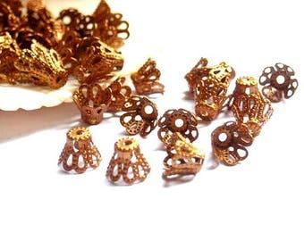 30 Copper Toned Filigree Flower Bead Caps - 18-AC-15
