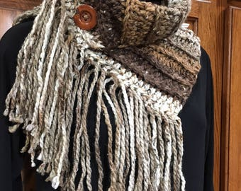 Chunky yarn Fringed Button Cowl - made by me