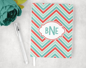 Personalized journal in chevron print, custom journal, hardcover journal, journal diary, writing journal, lined or blank journal
