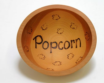 "8"" Beech Popcorn Bowl- Wooden Popcorn Bowl, Engraved Wooden Bowl, Housewarming Gift, Food Safe Wooden Bowl, Wood Bowl"