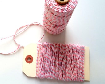 Pink & White 12 Ply Bakers Twine - 10 Yards for packaging, artwork, collage, assemblage