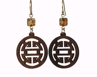 Wood Earrings - Brown Earrings - Casual Earrings - Neutral Earrings