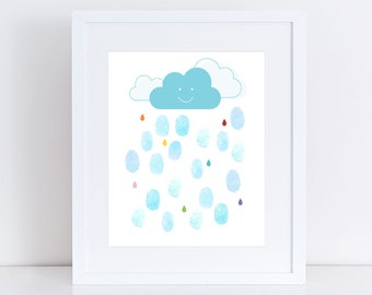 baby shower fingerprint guest book alternative - personalised nursery art print, rain drop baby shower, showers of joy rain cloud guestbook