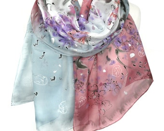Hand Painted Landscape Silk Scarf. Anniversary Birthday Gift for Her. Colorful Shawl. Genuine Silk Art. Silk Painting. 18x71in MADE to ORDER