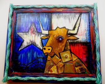 Texas Longhorn Steer Mixed Media Art Using Beach Plastic