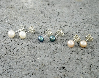 SMALL Fresh Water PEARL Studs on Sterling Silver Posts & Backs. White, Black or Pink Pearls. Natural Pearl earrings. Minimal pearl on post